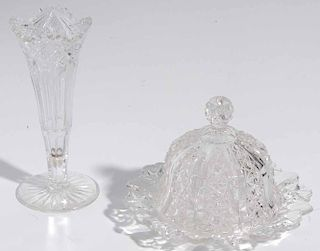 Four Pieces of Cut and Pressed Glass