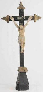 Folk Art Carved and Painted Crucifix