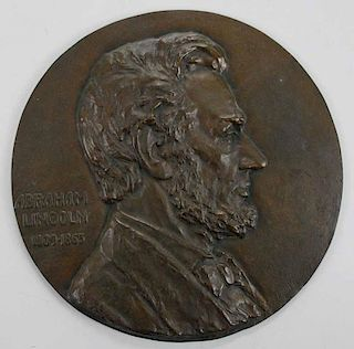 Brass Plaque of Abraham Lincoln