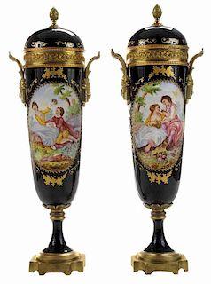 Pair Sèvres Style Painted Porcelain