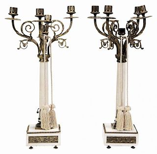 Pair Empire Style Carved White Marble