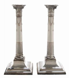 Pair of Old Sheffield Plate Column
