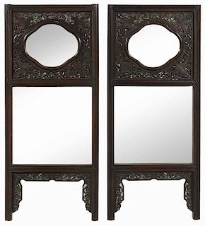 Pair Chinese Carved Hardwood Mirrored