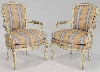 Pair Louis XV Style Bergere Chairs