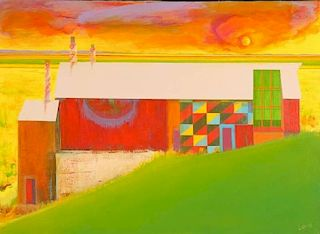 EDWARD R. LEWIS (1914-1992) ACRYLIC ABSTRACTION ON CANVAS