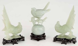 Three Asian Hardstone Bird Carvings