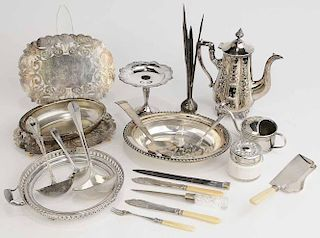 Nineteen Pieces Silver-Plate Items