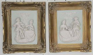 Pair of Dresden Framed Figural Plaques