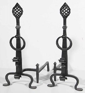 Large Pair Black-Painted Wrought Iron