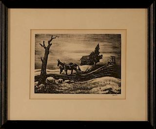THOMAS HART BENTON (1889-1975) CHRISTMAS CARD ETCHING