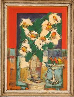 EDWARD R. LEWIS (1914-1992) ABSTRACT FLORAL STILL LIFE