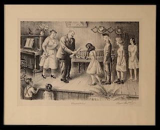 BLENDON REED CAMPBELL (1872-1969) PENCIL SIGNED LITHOGRAPH