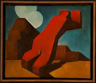 ABSTRACT OIL ON PANEL ATTRIBUTED RUDOLPH HESS (CALIFORNIA 20TH C.)