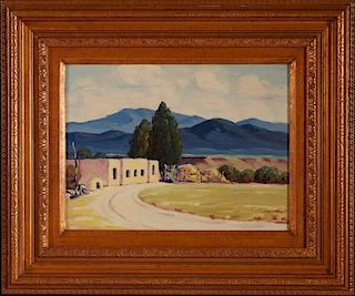 ATTRIBUTED RALPH GOLTRY (1884-1971) OIL ON BOARD