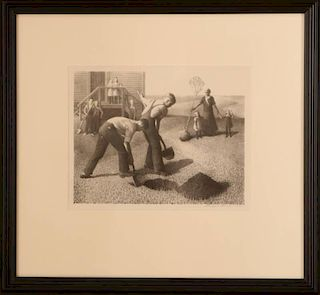 GRANT WOOD (1891-1942) PENCIL SIGNED LITHOGRAPH