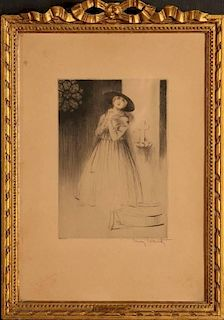 LOUIS ICART (1888-1950) PENCIL SIGNED ETCHING