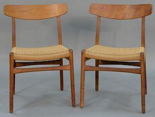 Set of six Hans Wegner dining chairs, Carl Hansen & Sons Denmark 1952, teak with paper cord, Hans J. Wegner burn mark.  heigh
