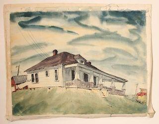 EDWARD R. LEWIS (1914-1992) WATERCOLOR & PASTEL ON PAPER