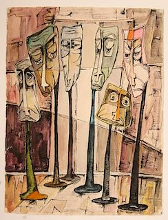 EDWARD R. LEWIS (1914-1992) WATERCOLOR & INK ON PAPER