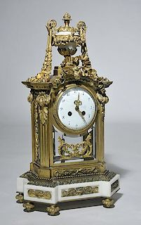 French Bronze and Marble Shelf Clock