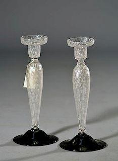 Pair of Steuben Silverina Candlesticks