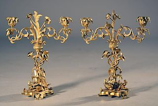 Pair of Bronze Candelabras