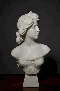 19th C. Carved Marble  Bust