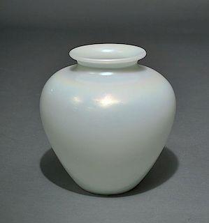Steuben White Globular Vase