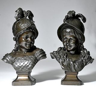 Pair of Bronze Busts