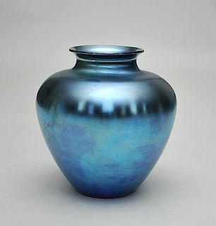 Steuben Blue Glass Globular Vase