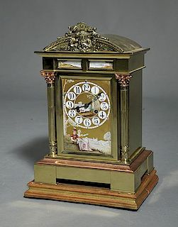 19th C. French Brass and Copper Mantel Clock
