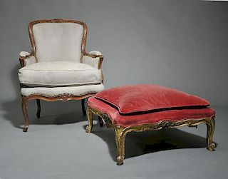 Period French LouisXV Bergere and Ottoman