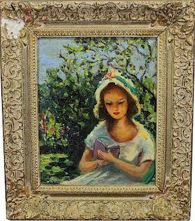 Salomon Rhodes, Girl Reading in a Garden