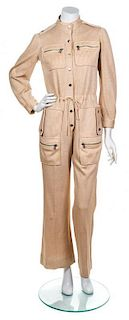 A Courreges Cream Striped Jumpsuit, Size A.