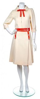 A Courreges Cream Wool And Orange Leather Skirt Ensemble, Size A.