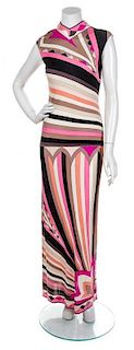 An Emilio Pucci Multicolor Sleeveless Gown, Size 10.