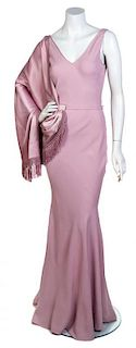 A John Galliano Mauve Silk Gown, Size 8.