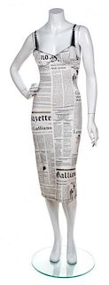 A John Galliano Newsprint Slip Dress, Size 30.