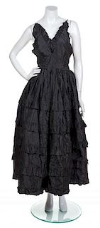 An Oscar de la Renta Black Ball Gown, No Size.