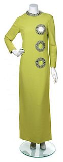 A Pierre Cardin Green Gown, No Size.