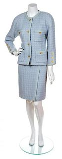A Chanel Baby Blue Wool Boucle Skirt Suit, No Size.