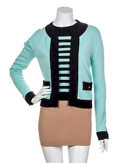 A Chanel Turquoise Cashmere Sweater Set, No Size.