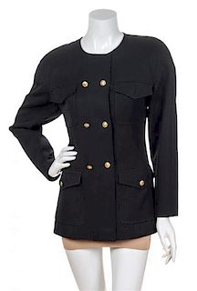 A Chanel Black Double Breasted Jacket, Size 38.