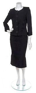 A Chanel Black Pique Skirt Suit, Size 38.