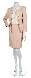 A Chanel Blush Wool Boucle Skirt Suit, Size 36.