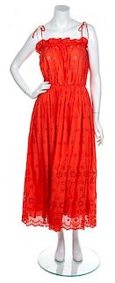 A Chanel Coral Eyelet Dress, Size 6.