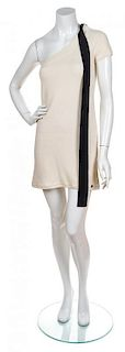 A Chanel Cream Knit One Shoulder Dress, Size 36.