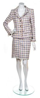 A Chanel Multicolor Cotton Boucle Skirt Suit, Size 38.