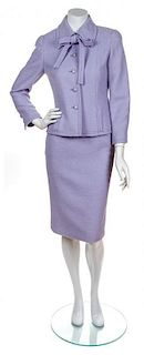 A Chanel Lavender Wool Boucle Skirt Suit, Size 38.