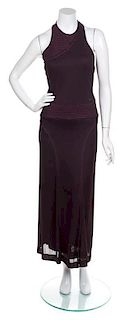 A Chanel Maroon Halter Gown, Size 34.